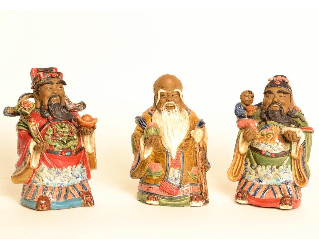 8: A DECORATIVE TRIO OF CERAMIC CHINESE IMMORTAL STATUE