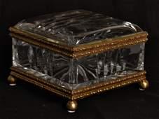 9: A DECORATIVE GLASS AND BRASS BOX