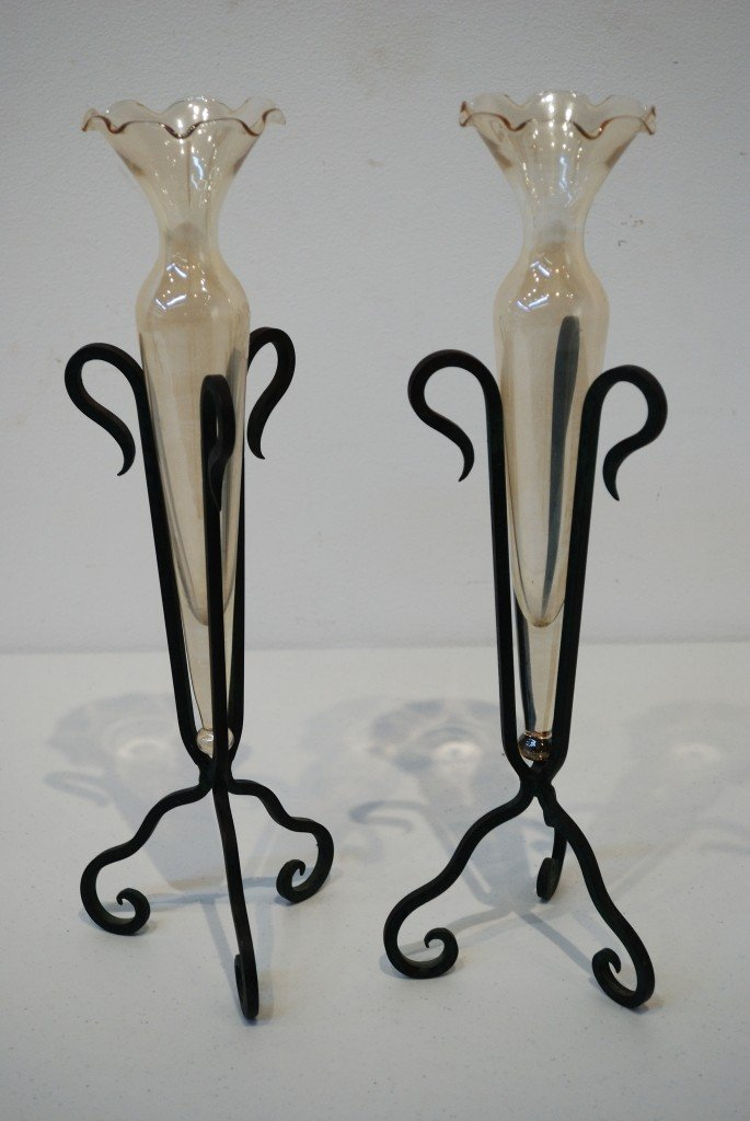 1: PAIR OF MURANO GLASS AND OXIDIZED COPPER BUD VASES