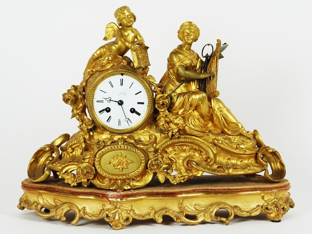 21: A FRENCH GILDED MANTEL CLOCK 19th Century