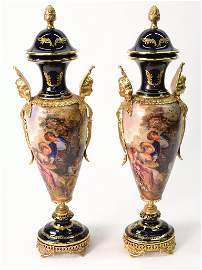 36: A PAIR OF SEVRES STYLE MODERN URNS