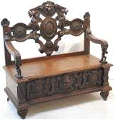 221: A GOTHIC OAK HALL BENCH WITH STORAGE 19th Century