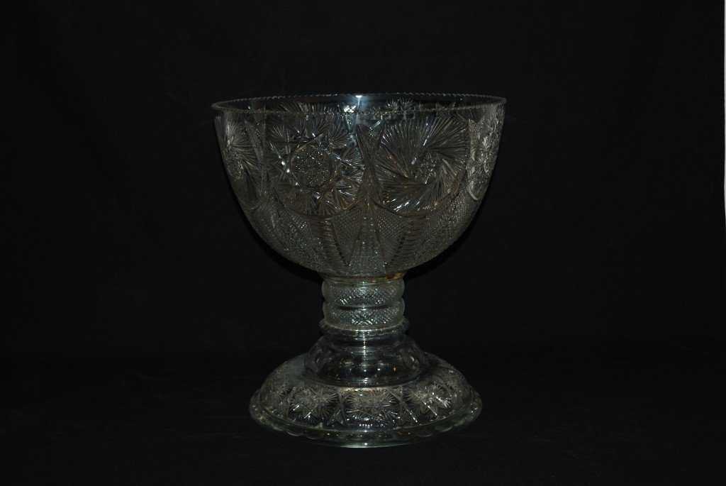 10: A LARGE VINTAGE CUT GLASS PUNCH BOWL