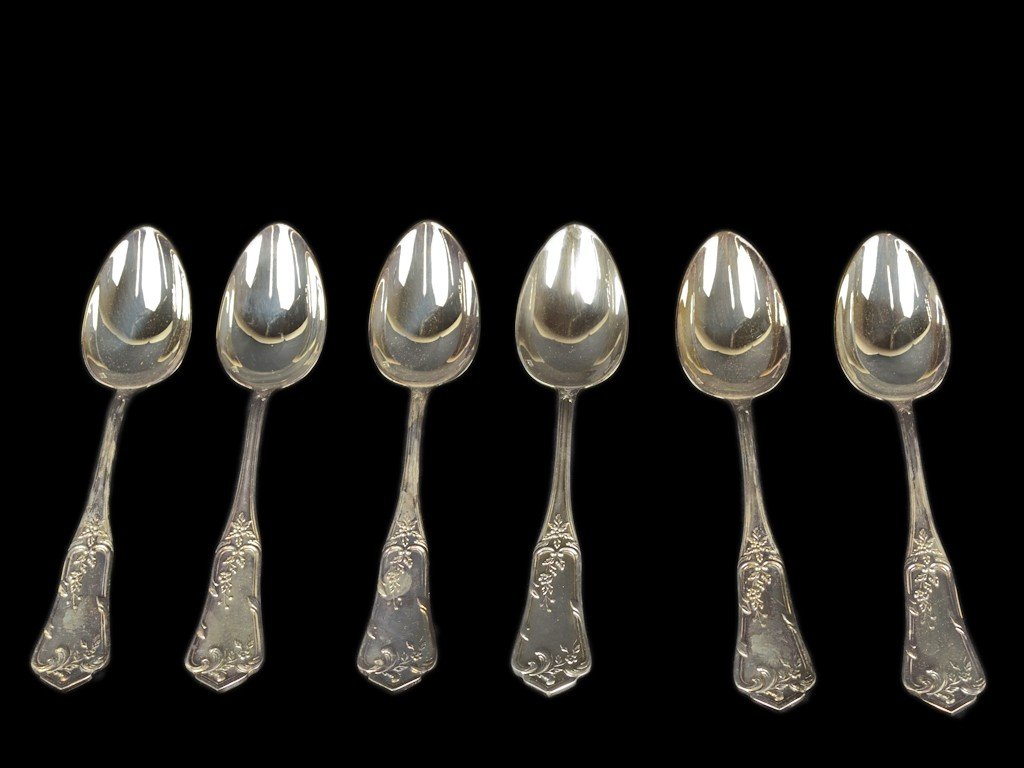 13: A SET OF FRENCH BOULENGER SILVER SERVING SPOONS - 6
