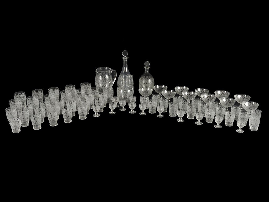 6: SEVENTY-FIVE PIECE SET OF BACCARAT ETCHED CRYSTAL BA