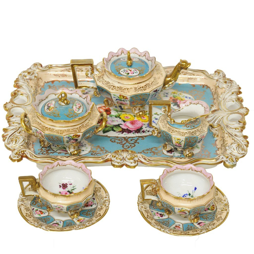 14: EIGHT-PIECE JACOB PETIT GILDED AND DECORATED PORCEL