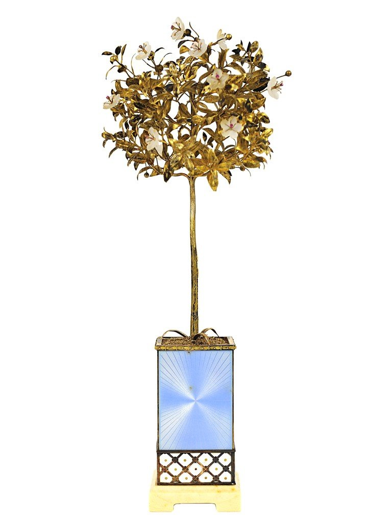 15: A FABERGE FLOWERING TREE ON GUILLOCHE ENGRAVED BASE