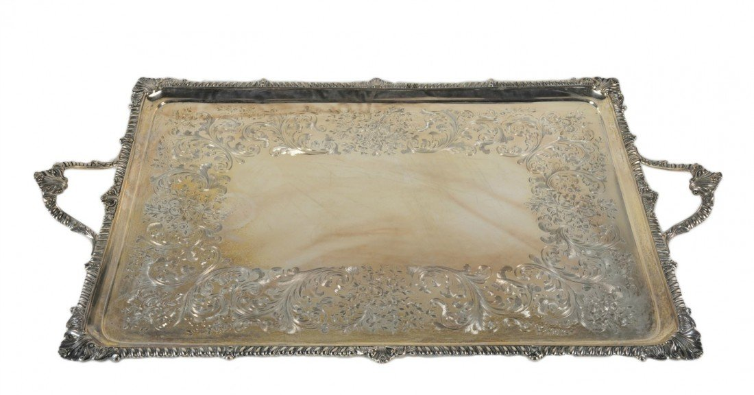 19: A STERLING SILVER RECTANGULAR TRAY