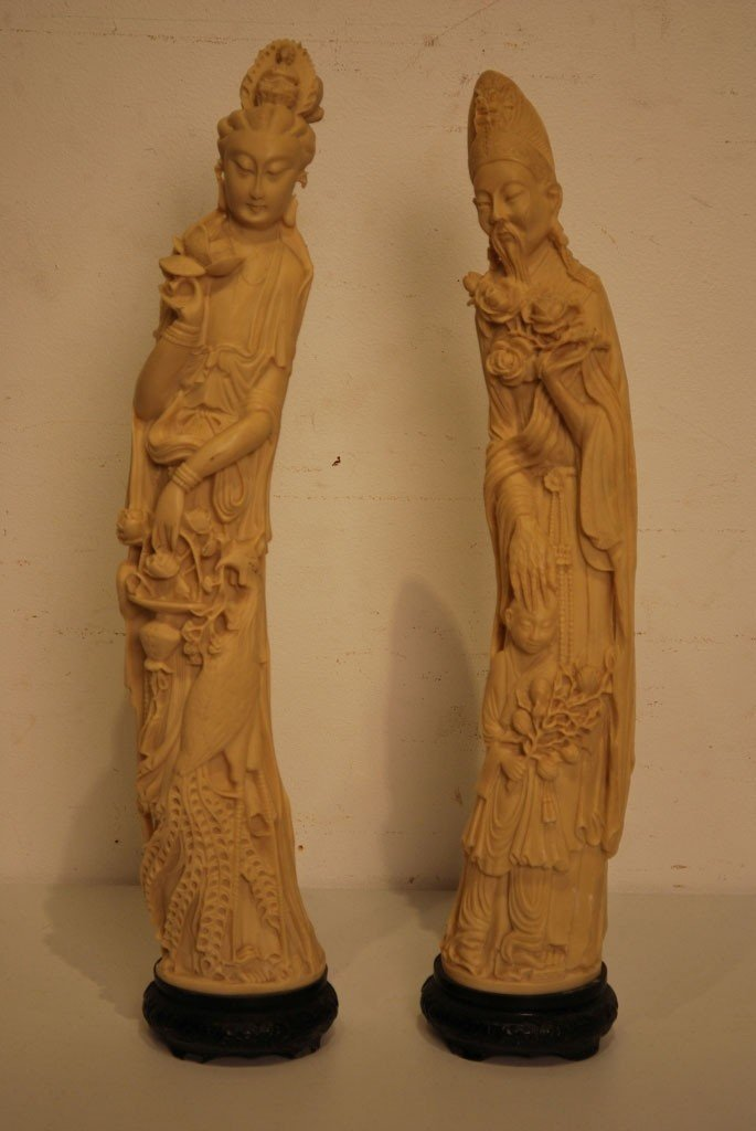 15: A LARGE PAIR OF MODERN CHINESE FAUX IVORY STATUES