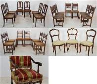 63: A TRIO OF LOUIS XV CHAIRS; SET OF 6 HENRY II CHAIRS
