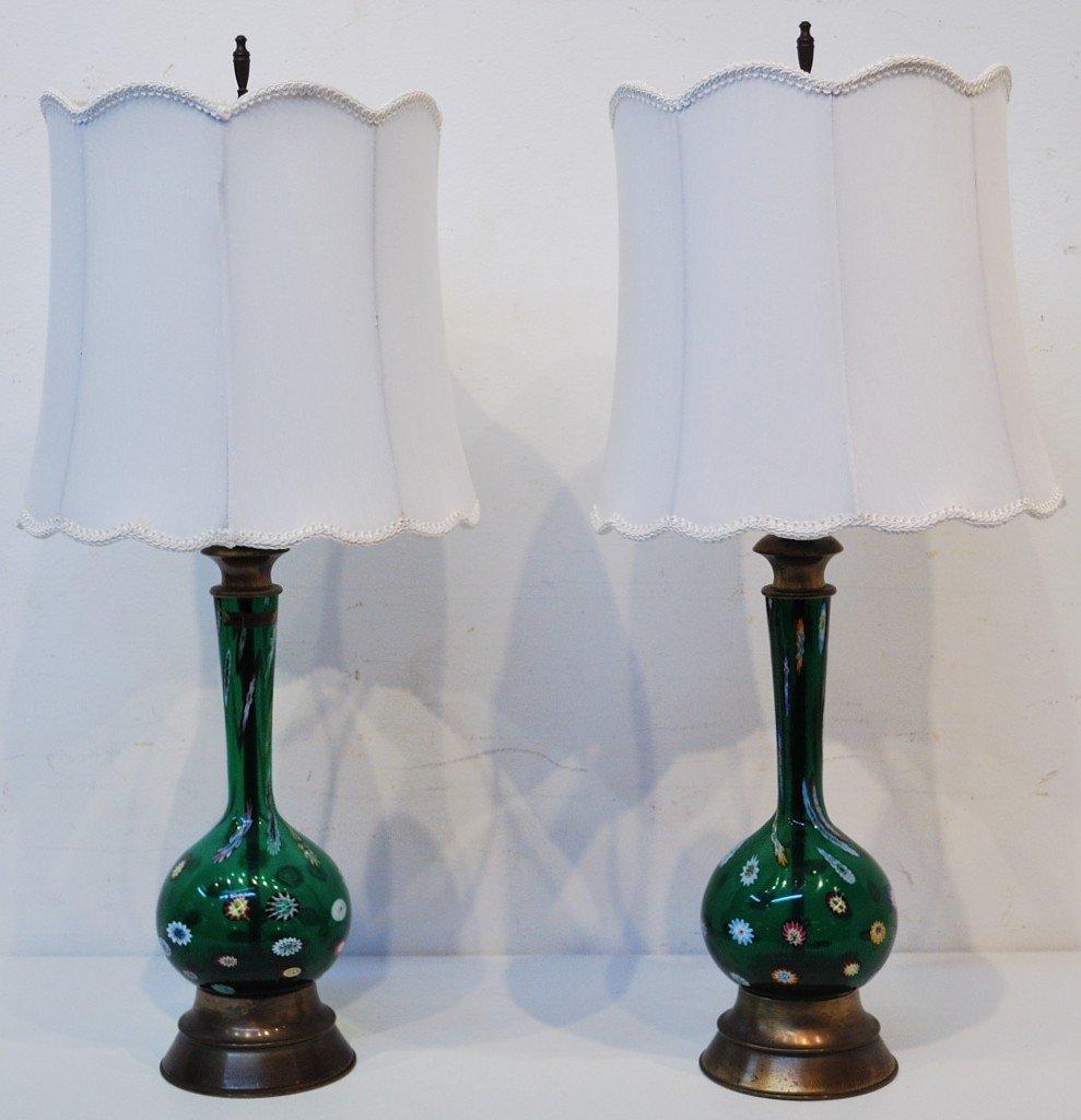 10D: A PAIR MID 20TH CENTURY VENETIAN GLASS LAMPS