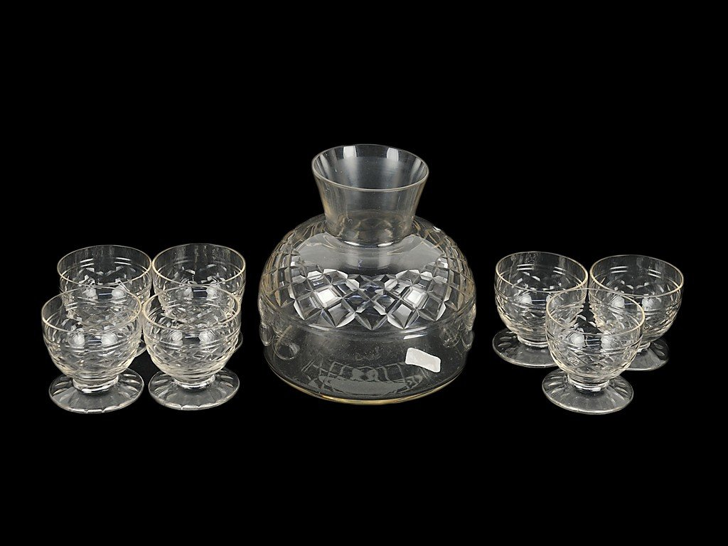 5: A CRYSTAL DECANTER AND SEVEN GLASSES, FRANCE 8 piece