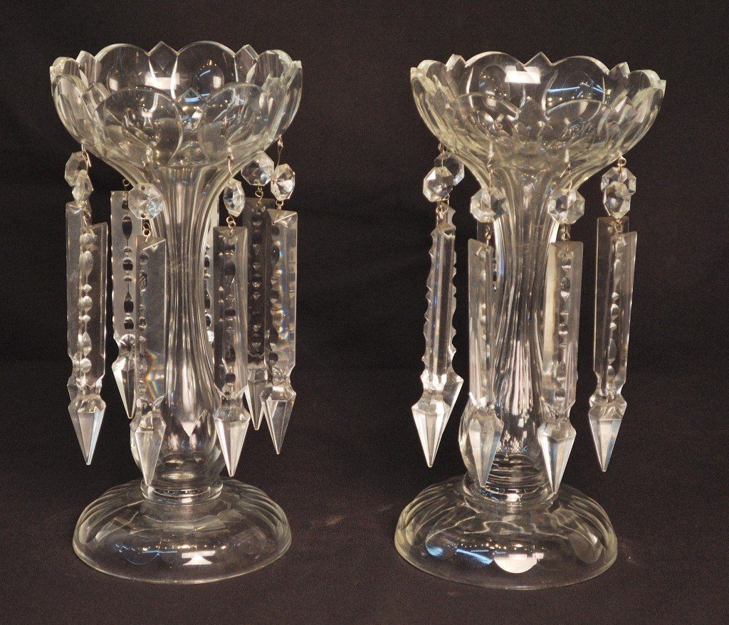 9: AN ATTRACTIVE PAIR OF CRYSTAL LUSTRES