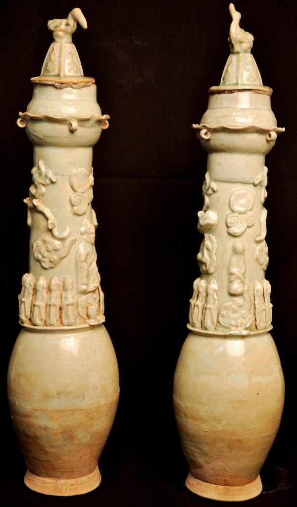 12: A PAIR OF CHINESE SUNG DYNASTY STYLE FUNERARY URNS