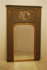 86: AN ANTIQUE CONTINENTAL TRUMEAU MIRROR WITH PAINTING