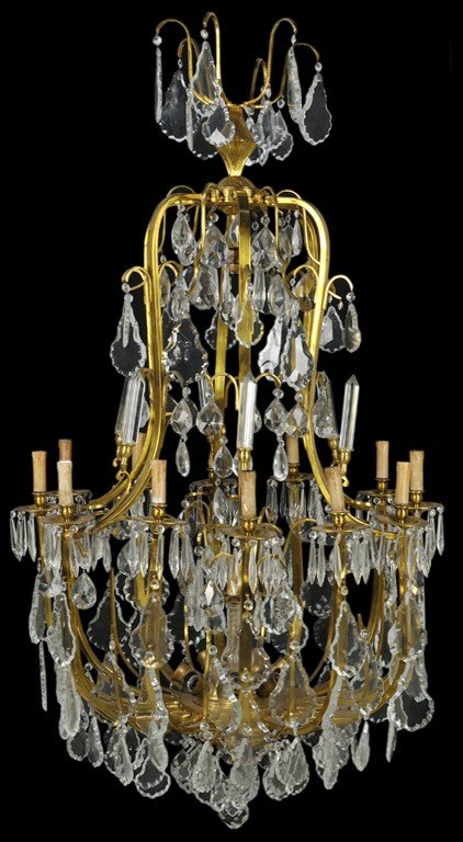 3: A REGENCE STYLE BRONZE DORE AND CRYSTAL CHANDELIER