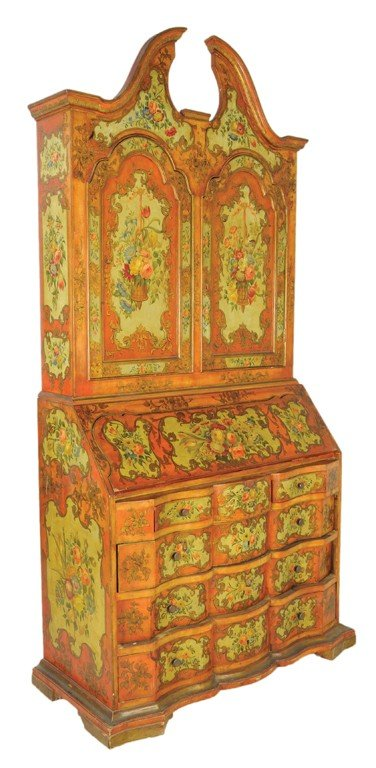 4: A FLORENTINE STYLE IRON RED AND PALE GREEN PAINTED A