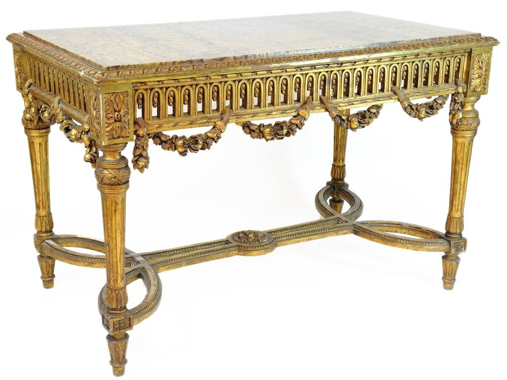 6: A LOUIS XVI STYLE GILTWOOD AND MARBLE CENTER SALON T