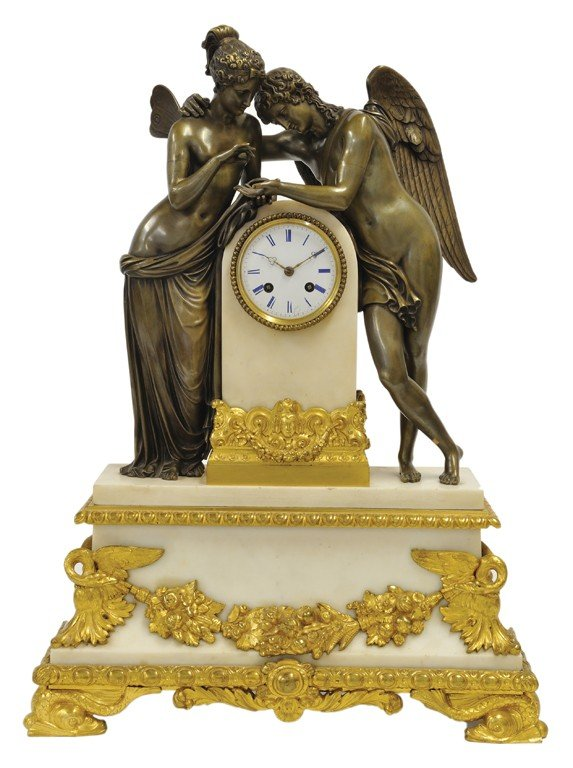 20: A GOOD FRENCH EMPIRE GRECIAN REVIVAL GILT & PAINTED