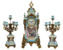 A LOUIS XV STYLE BRONZE MOUNTED PAINTED AND DECORA