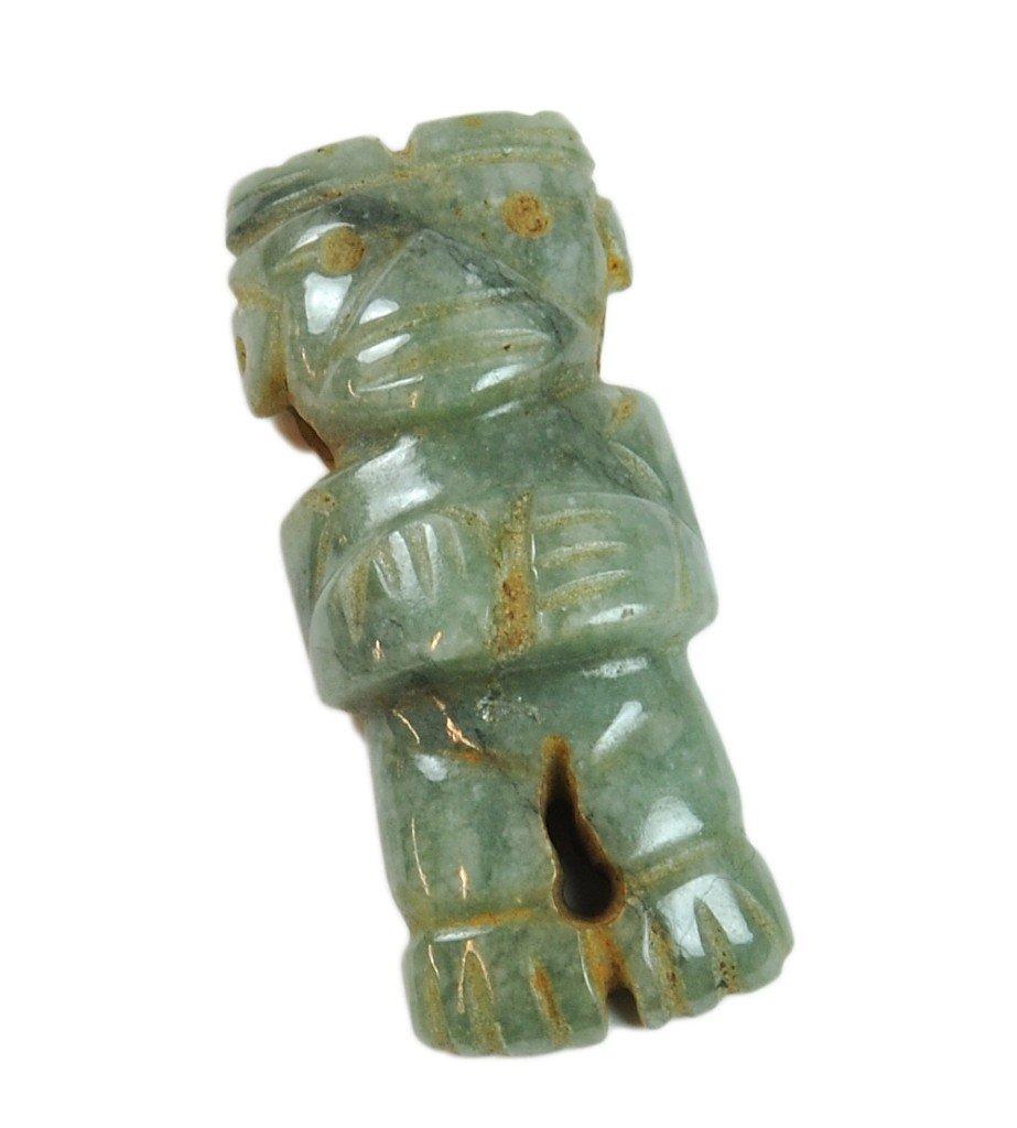 1: A SMALL GUANACASTE-NICOYA CARVED JADEITE ANTHROPOMOR
