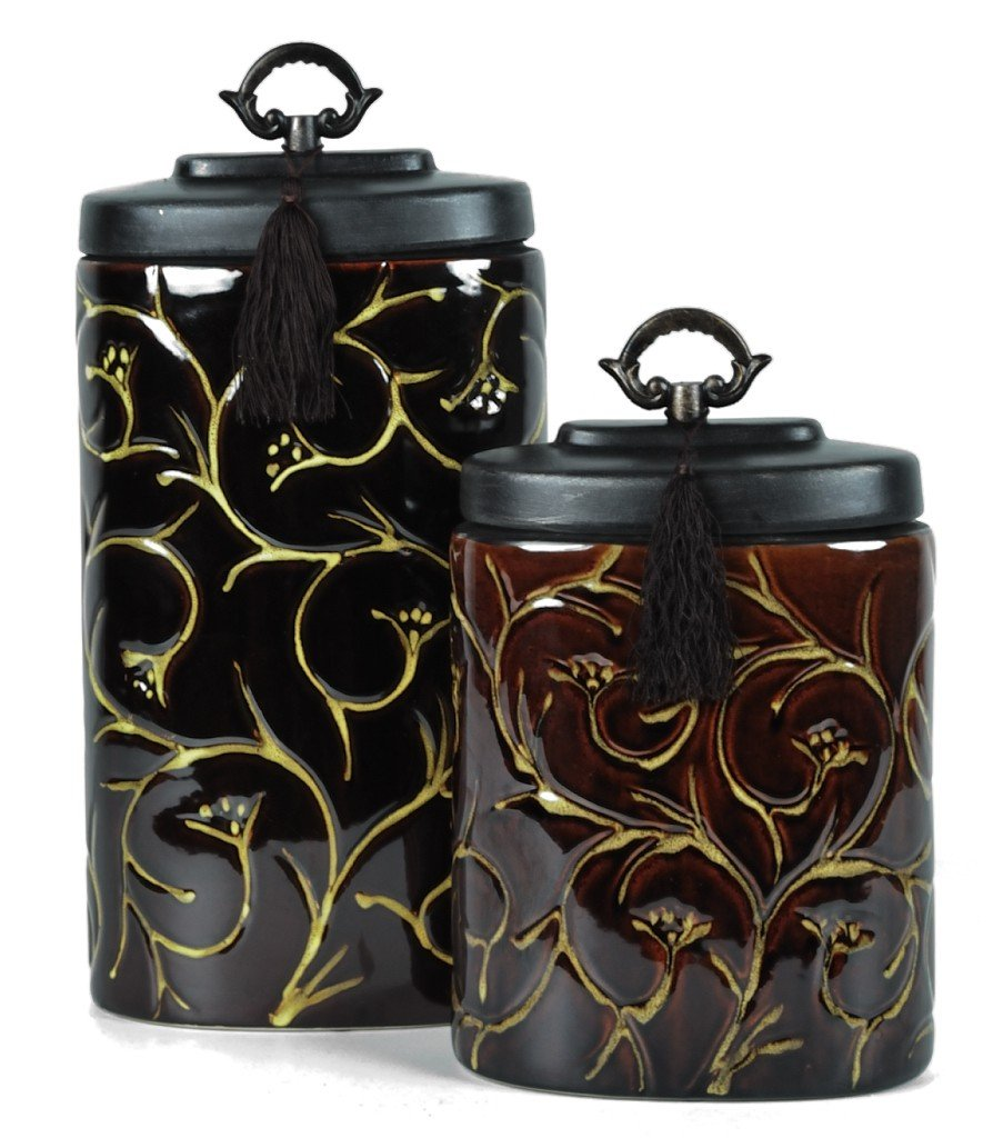 21: A PAIR OF ORNATE DECORATED JARS WITH LIDS