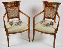 149: A PAIR OF DECORATIVE ARMCHAIRS