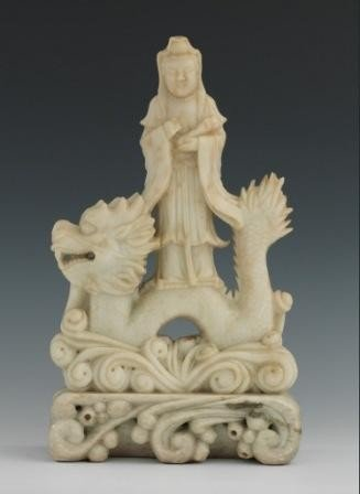 8A: A FINELY CARVED CHINESE SOAPSTONE KWAN-YIN & DRAGON