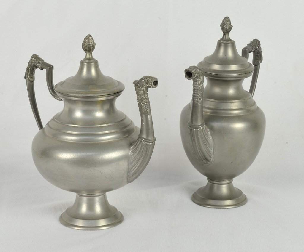 TWO PEWTER TEA POTS