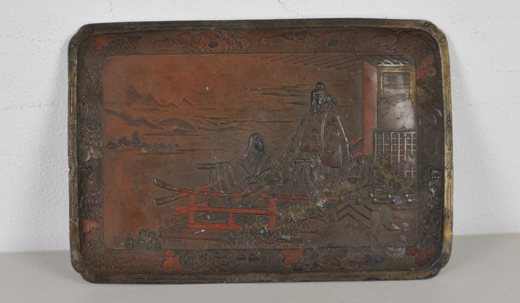 A VINTAGE JAPANESE METAL TRAY WITH A SCENIC DESIGN