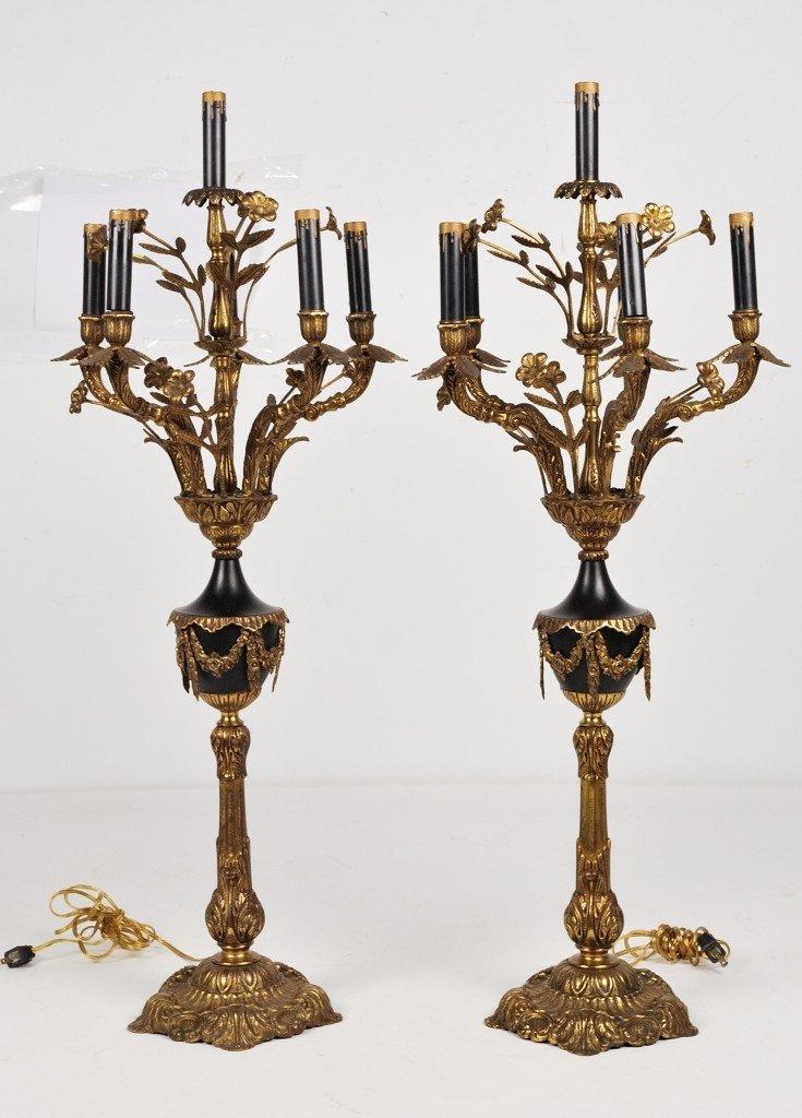 A PAIR OF VINTAGE BRASS CANDELABRA URN FORM LAMPS