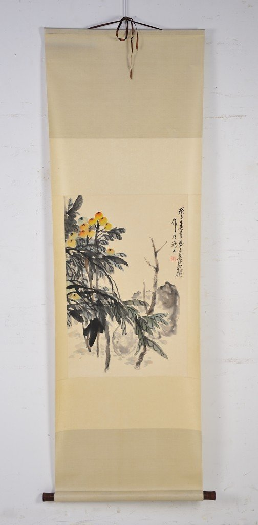 CHINESE HAND PAINTED WATERCOLOR - FLOWERS SCROLL