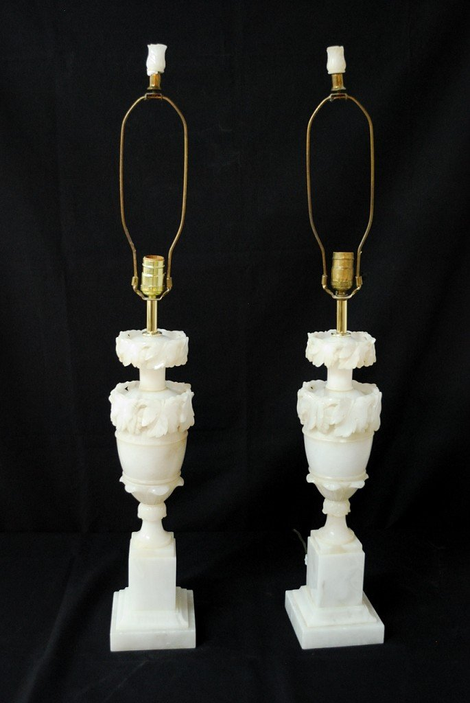 7: PAIR OF MARBLE LAMPS