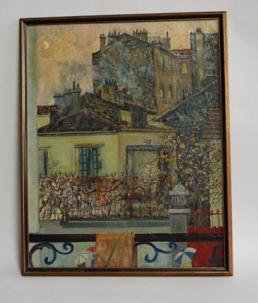 """LOT 24: PIERRE EYCHART, """"PARIS LA LUNE"""", OIL PAINTING"""