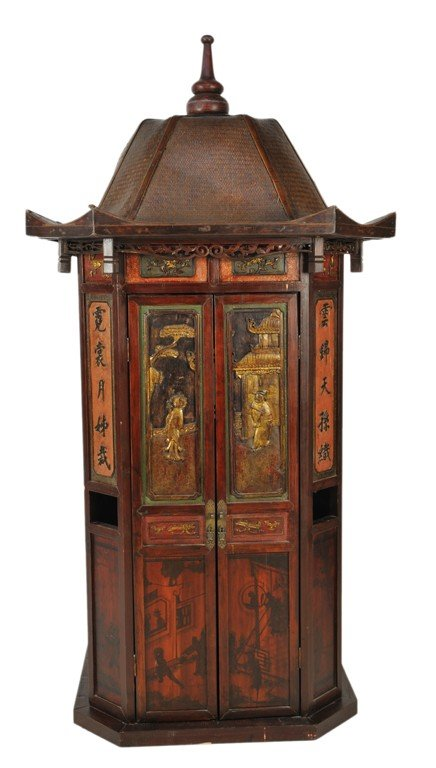3: QING DYNASTY RED LACQUERED, HAND PAINTED AND HAND CA
