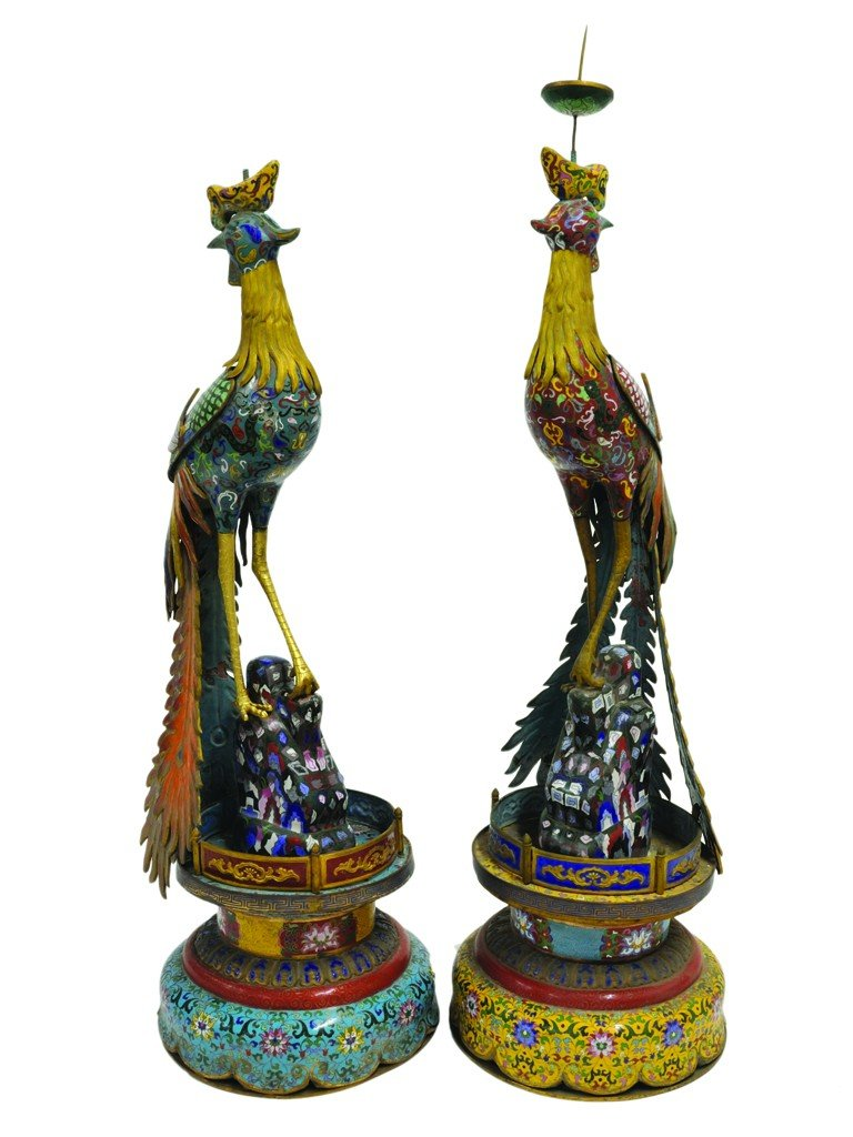 16: AN UNUSUAL LARGE PAIR OF CHINESE CLOISONNÉ PEACOCK