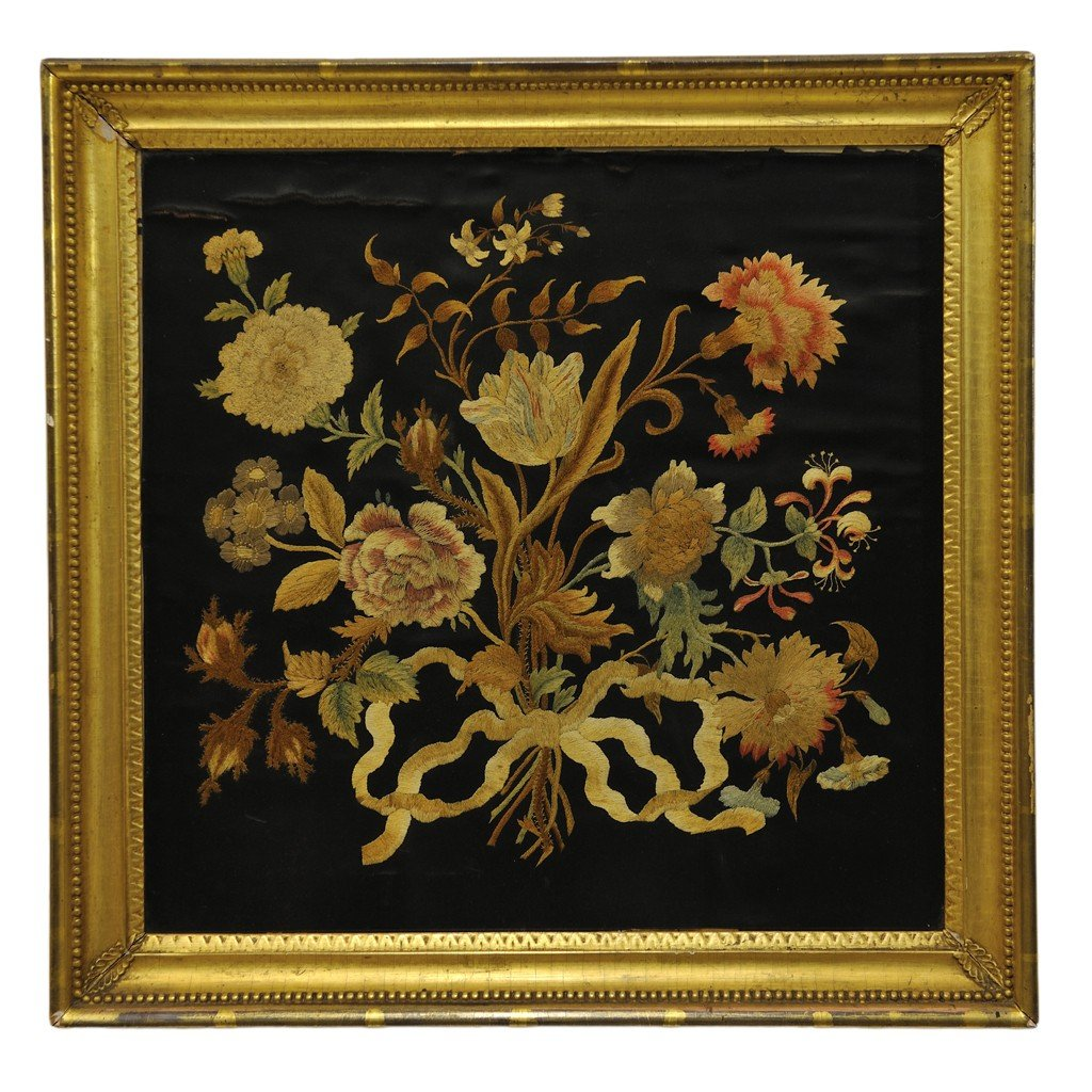 21: A SILK EMBROIDERY PANEL 19th Century
