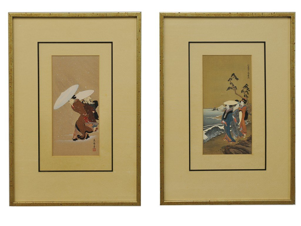 22: JAPANESE WOOD BLOCKS, The pair depicting a woman wi