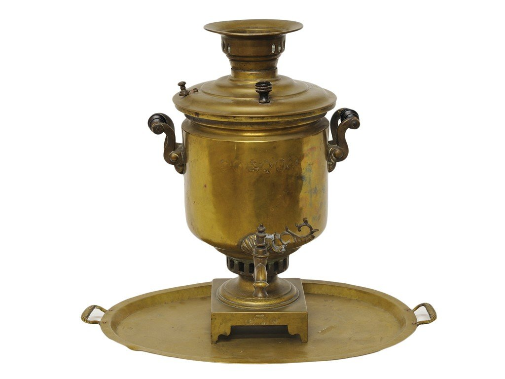 23: A RUSSIAN BRASS SAMOVAR AND TRAY 19th Century