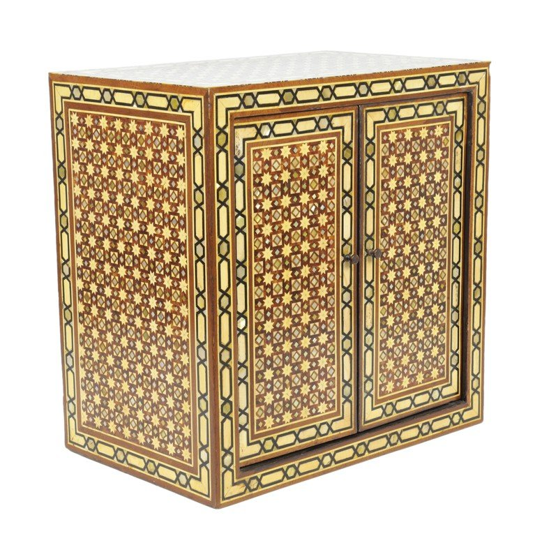 24: A MIDDLE EASTERN INLAID TABLE CABINET