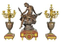 31: A MONUMENTAL LOUIS XVI STYLE THREE-PIECE PATINATED