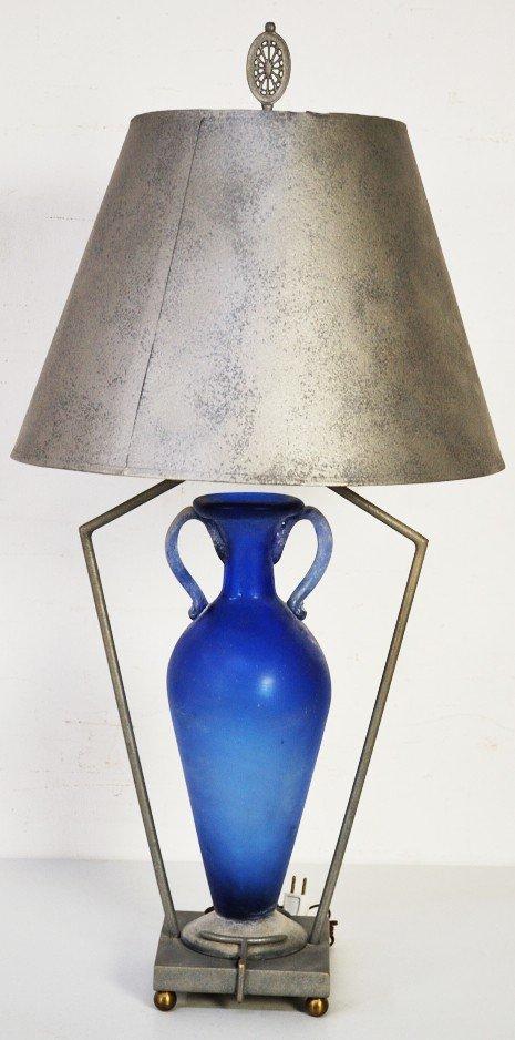 2: BLUE GRECIAN VASE & METAL LAMP