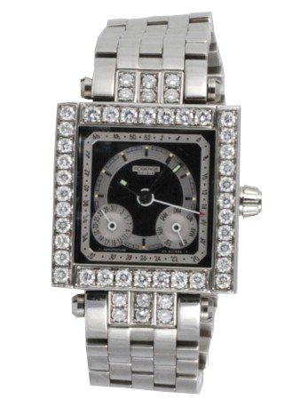 25: ROBERGE GENEVE SQUARE STAINLESS SQUARE WATCH