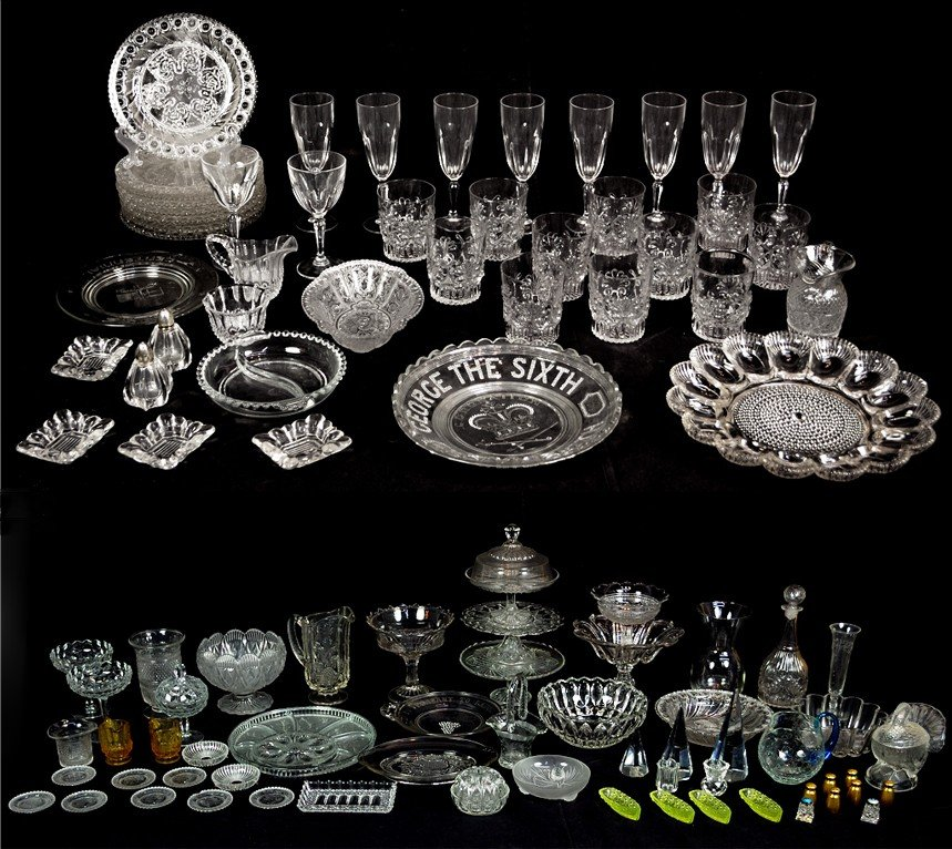 1: LOT OF GLASSWARE AND DETAILED MISCELLANEOUS ITEMS