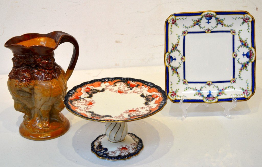4: A TRIO OF ENGLISH POTTERY & CHINA SMALL DECORATIVES