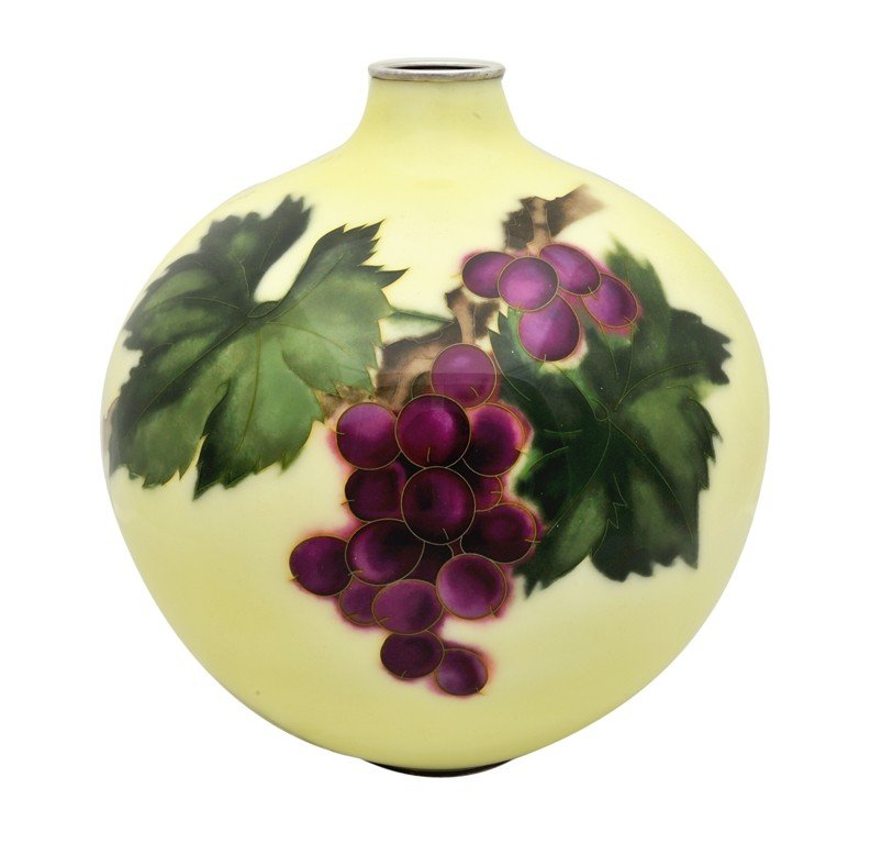 2: JAPANESE ENAMELED VASE WITH SILVER MOUNTS Signed AND