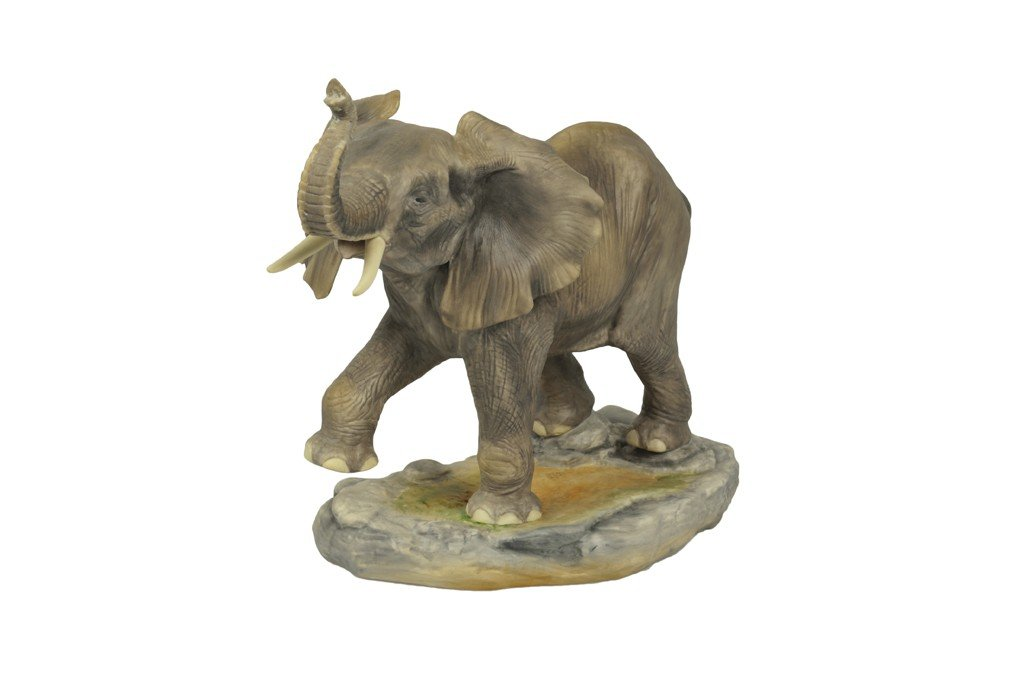 3: A SIGNED BOEHM BISQUE PORCELAIN FIGURE OF AN ELEPHAN