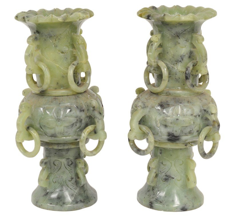 5: A PAIR OF CHINESE CARVED JADE COLOR HARDSTONE VASES