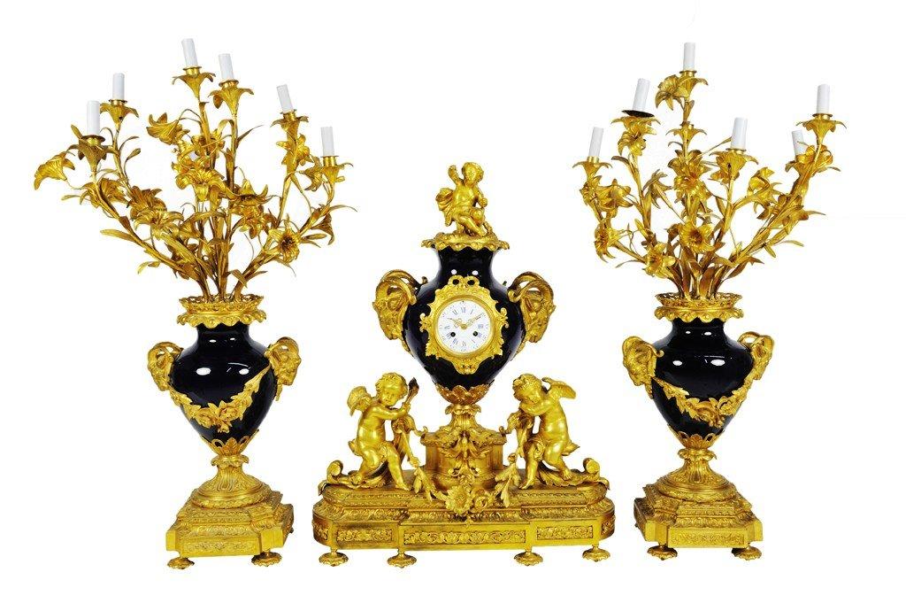 10: A LOUIS XVI STYLE GILT BRONZE AND SEVRÈS STYLE COBA