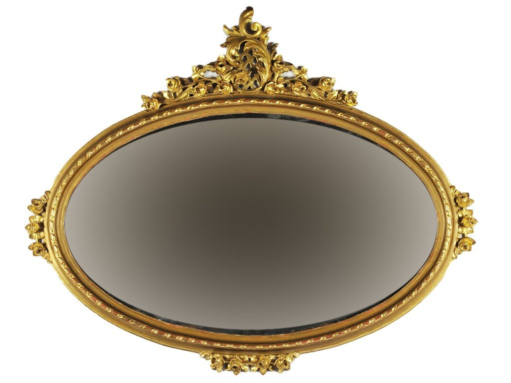 14: A GRAND LOUIS XVI STYLE GILTWOOD OVER MANTEL MIRROR